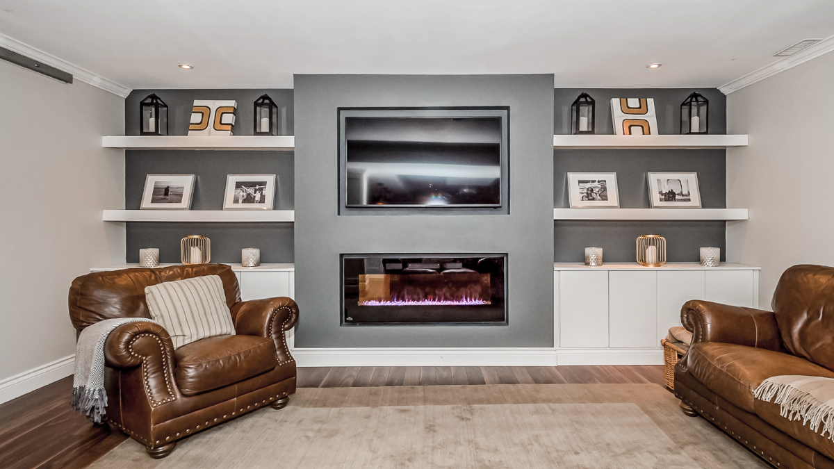 Basement fireplace